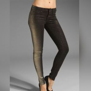 {MOTHER} Gold Glitterr The Looker Jeans